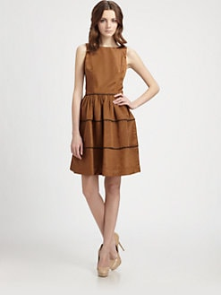 Lotusgrace - Piping Trimmed Faille Dress