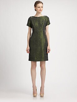 Lotusgrace - Crocodile Jacquard Sheath Dress