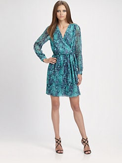 Shoshanna - Snakeskin Print Wrap Dress