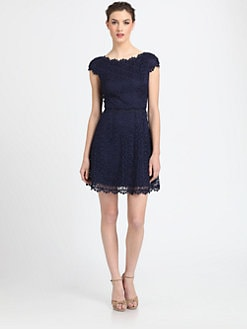 Laundry by Shelli Segal - Cap-Sleeve Lace Dress