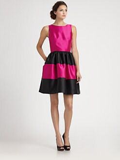 Lotusgrace - Colorblock Gazar Dress