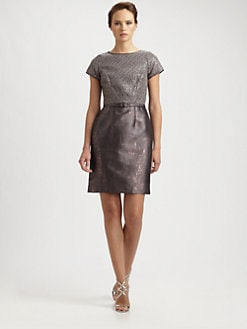 Lotusgrace - Metallic Overlay Dress