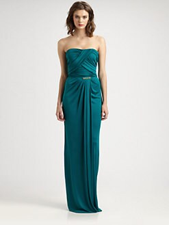 David Meister - Strapless Drape Gown