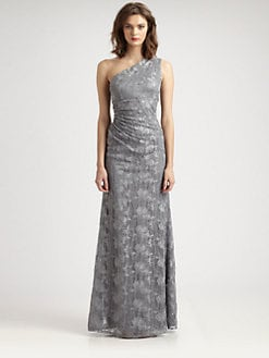 David Meister - Asymmetrical Lace Gown