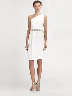 David Meister - One-Shoulder Bead-Belt Jersey Dress