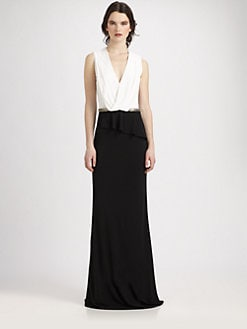 David Meister - Two-Tone Jersey Gown