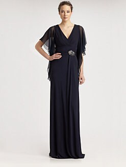 David Meister - Flutter Sleeve Jersey Gown