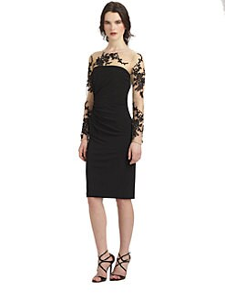 David Meister - Embroidered Illusion Dress