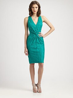 David Meister - Twist-Front Lace Dress