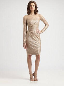 David Meister - Sequined Long-Sleeve Dress