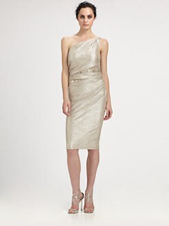 David Meister - One-Shoulder Metallic Dress