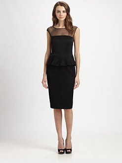 David Meister - Sheer-Paneled Peplum Dress