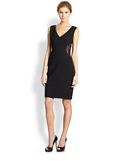 David Meister - Lace Detail V-Neck Dress