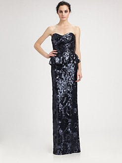 David Meister - Strapless Sequined Jacquard Peplum Gown