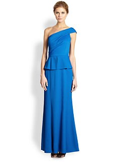 David Meister - Asymmetrical Peplum Gown