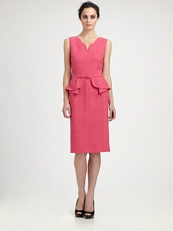 David Meister - Belted Peplum Dress