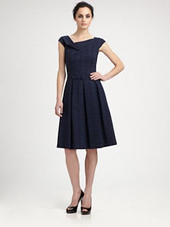 David Meister - Belted Plaid Cotton-Blend Dress