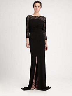 David Meister - Sequined Paneled Gown
