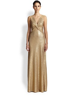 David Meister - Twist-Front Textured Metallic Gown