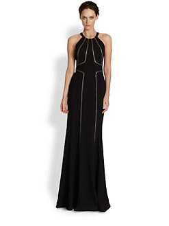 David Meister - Chain-Detailed Paneled Crepe Gown