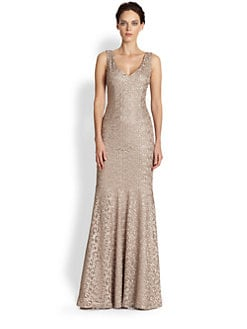 David Meister - Metallic-Lace Gown