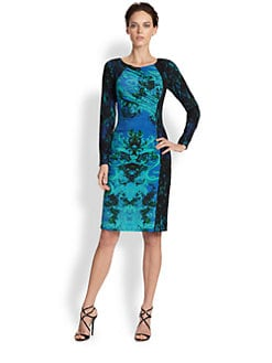 David Meister - Print-Blocked Stretch Jersey Dress