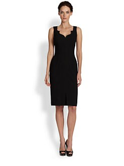 David Meister - Scalloped-Neckline Stretch Crepe Dress