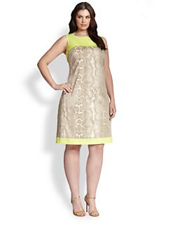 Tahari Woman, Salon Z - Snake Print Sheath Dress
