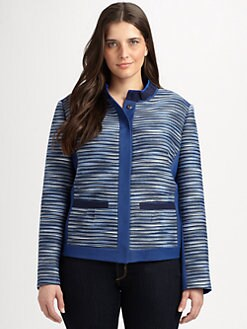 Tahari Woman, Salon Z - Textured Striped Jacket