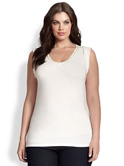 Tahari Woman, Salon Z - Satin-Trimmed Shell