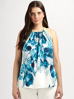 Tahari Woman, Salon Z - Abstract Floral Print Top