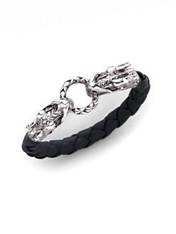 John Hardy - Sterling Silver and Woven Leather Dragon Bracelet/Black