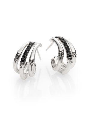 Bamboo Black Sapphire & Sterling Silver Bamboo Lava Triple Hoop Earrings