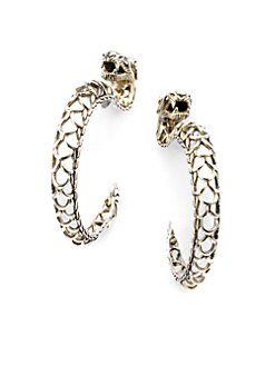 John Hardy - Sterling Silver Dragon Hoop Earrings/1¼