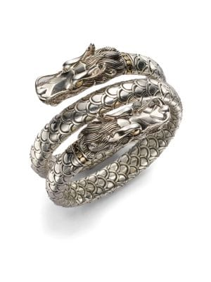 Naga 18K Yellow Gold & Sterling Silver Dragon Head Double Coil Bracelet