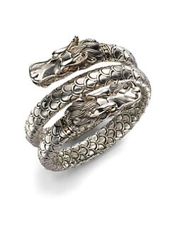 John Hardy - Sterling Silver & 18K Yellow Gold Dragon Coil Bracelet