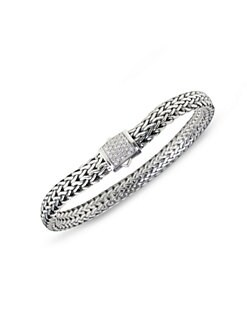 John Hardy - Diamond, 18K White Gold & Sterling Silver Small Bracelet