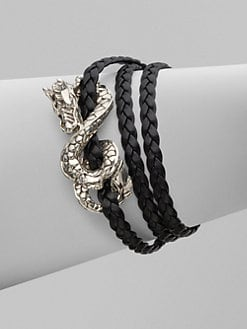 John Hardy - Sterling Silver and Leather Dragon Bracelet/Black