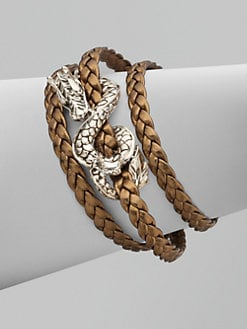 John Hardy - Sterling Silver and Leather Dragon Bracelet/Bronze