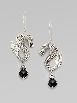 John Hardy - Black Chalcedony and Sterling Silver Dragon Earrings