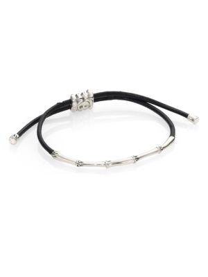 Bamboo Sterling Silver & Cord Slide Bracelet