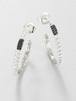 John Hardy - Black Sapphire and Sterling Silver Ribbed Hoop Earrings/1.5