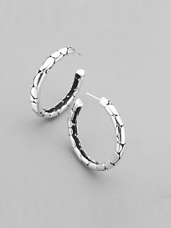 John Hardy - Sterling Silver Textured Hoop Earrings/1½