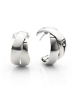 John Hardy - Sterling Silver Crossover Hoop Earrings