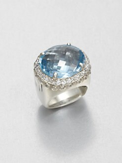 John Hardy - White Sapphire and Sterling Silver Ring/Sky Blue Topaz