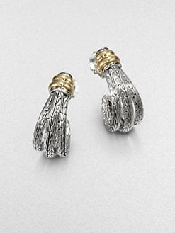 John Hardy - Sterling Silver and 18K Yellow Gold J-Hoop Earrings