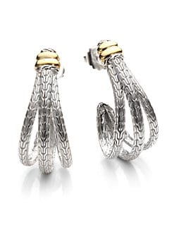 John Hardy - Sterling Silver & 18K Gold Large J-Hoop Earrings