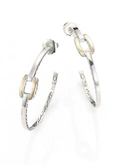 John Hardy - Sterling Silver and 18K Yellow Gold Hoop Earrings/2