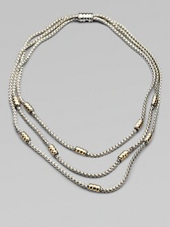John Hardy - 18K Gold Accented Sterling Silver Multi-Row Station Necklace
