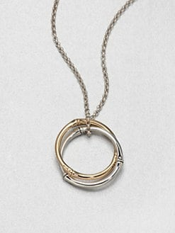 John Hardy - 18K Gold & Sterling Silver Large Interlocking Ring Pendant Necklace